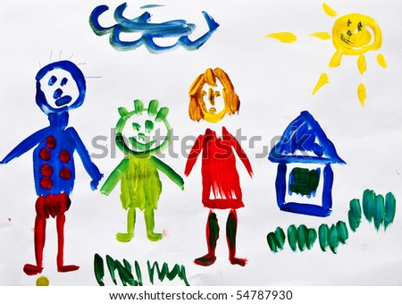 A happy family. Children's drawing. - stock photo