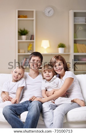 A happy family home evening - stock photo