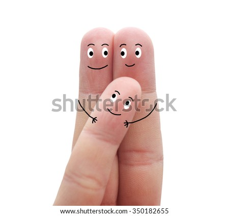 A happy family in love on a white background - stock photo