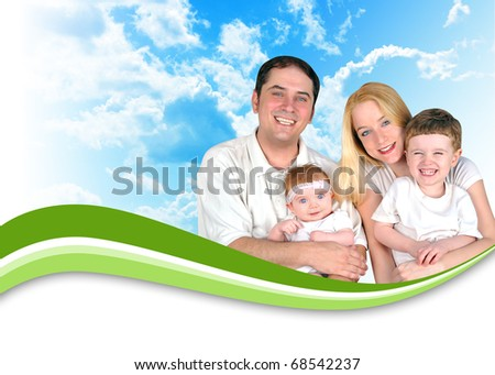A happy family is wearing white and there are nature clouds in the background. There is a green swirl wave to add your text under. Use it for a header for a health, parenthood or lifestyle concept. - stock photo