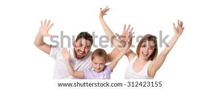A happy family isolated on  white background. hands raising up - stock photo