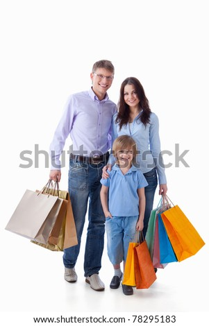 A happy family with a child on a white background - stock photo