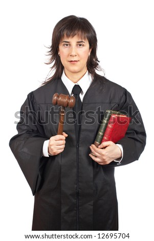 A happy female judge holding the gavel and books. Shallow depth of field - stock photo