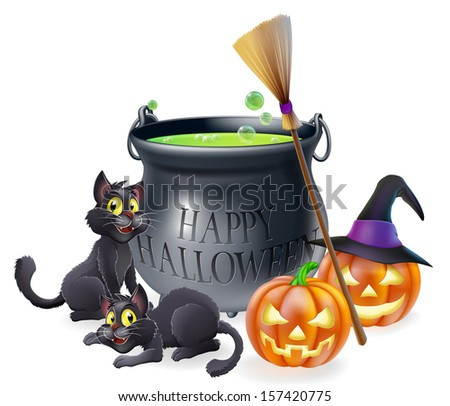 A happy Halloween cartoon illustration of witches cauldron, cats and carved pumpkins - stock photo