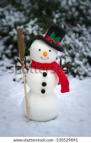 A happy holiday image of snowman on snowy ground.