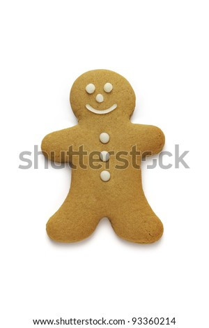 A happy isolated gingerbread man - stock photo