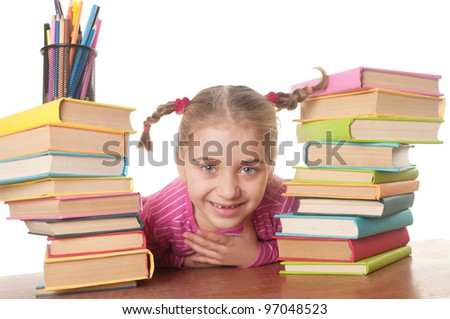 a happy  little girl and books, back to school concept, isolated over white