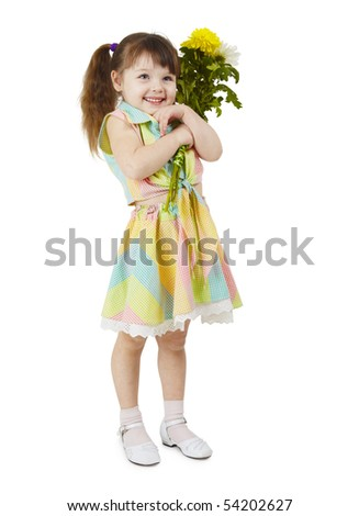 A happy little girl holds a bouquet of flowers on a white background - stock photo