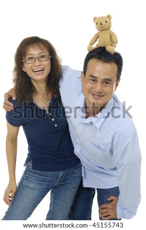 A happy man and woman couple in love isolated
