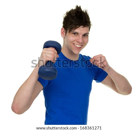 A happy man using a dumbbell.