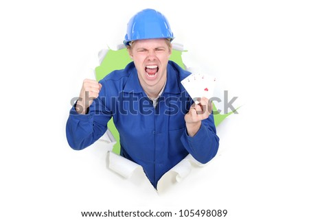 A happy manual worker. - stock photo