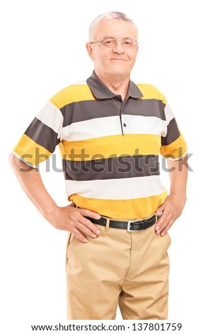 A happy middle aged gentleman looking at camera isolated on white background - stock photo