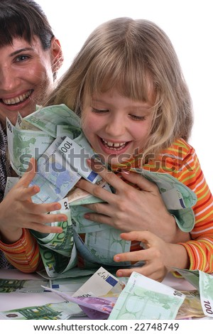 A happy mother with a child holds a money. - stock photo