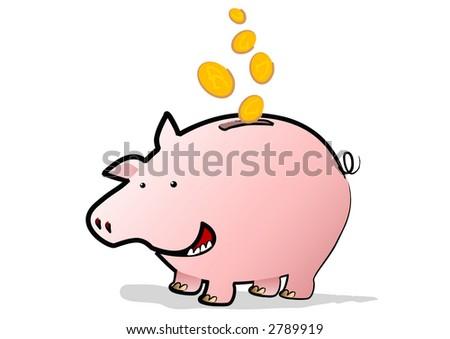 A Happy Piggy Bank saving coins falling through the air - stock photo