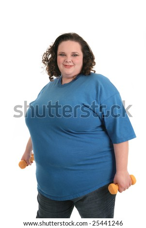 A happy plus size female get ready to exercise on isolated