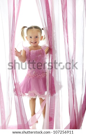 A happy preschooler wearing a pink princess dress, emerging through a curtain of sheer pink strands  On a white background. - stock photo