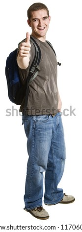 A happy, satisfied student. - stock photo