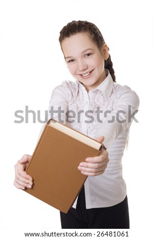 a happy schoolgirl is in a white woman's jacket. a girl is isolated on white. It holds a book