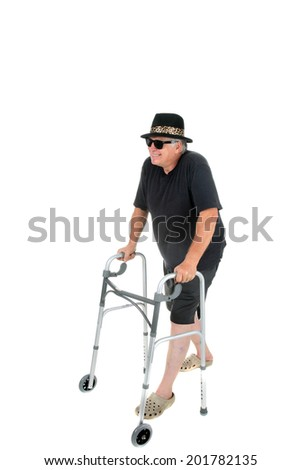 A happy senior citizen uses his walker to stay mobile. isolated on white with room for your text - stock photo