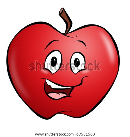 A happy smiling cartoon apple. - stock photo