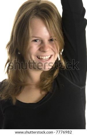 a happy smiling teenage girl against white background