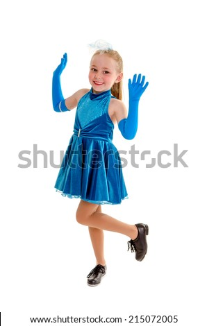 A Happy Tap Dancer Poses in Class Blue Dress and Gloves Recital Costume - stock photo