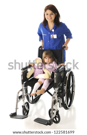 A happy teen volunteer pushing a sad and injured preschooler in a large wheelchair.  On a white background. - stock photo
