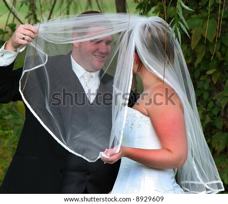 A happy wedding couple. The groom lifts the bridal veil - stock photo
