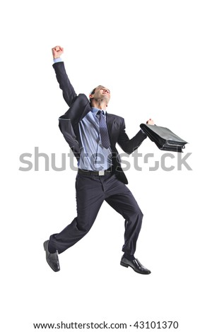 A happy young businessman jumping in the air isolated on white background