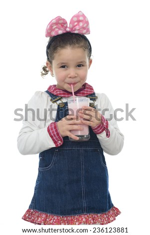 A Happy Young Girl with Strawberry Milk Shake Isolated on White - stock photo