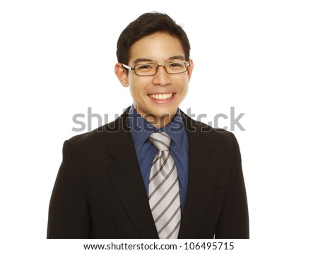 A happy young professional with a big smile (isolated on white) - stock photo