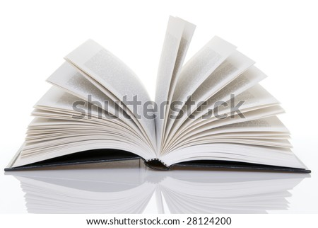 A hard bound open book - stock photo