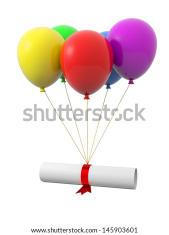 A hat being tied by the rope of the balloons - stock photo