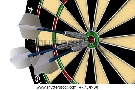 A hat trick. Three darts dead center in the bull's eye