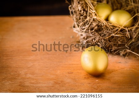 A Hay Nest with 3 golden Eggs. - stock photo