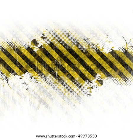 A hazard stripes background with grungy splatter isolated over white. - stock photo