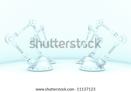 A hazed out 3d render of robotic manufacturing arms, all pointing inward at eachother in an artistic style. - stock photo