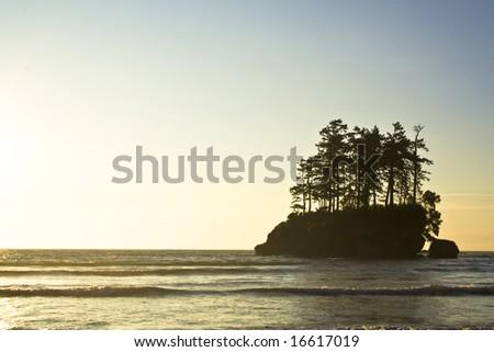 A hazy dusk on the Pacific coast - stock photo