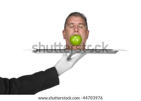 A head is served on a platter by a waiter. Image was shot for use as any trouble inference such as business and crime. - stock photo