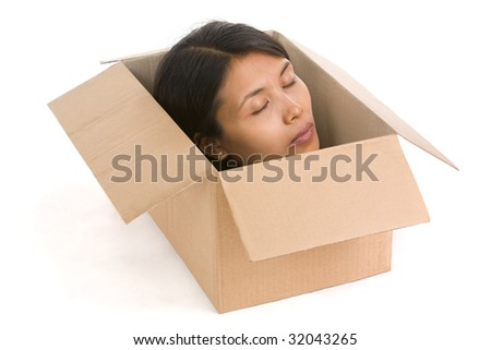 A head of young woman inside the box