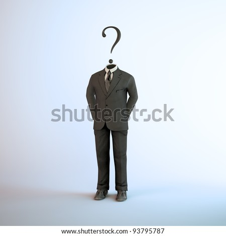 A headless figure in a suit with a question mark - stock photo