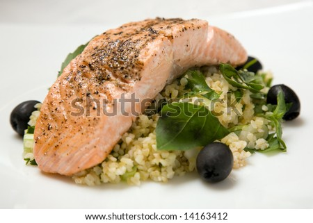 A healthy and nutritious fresh Salmon meal ready to eat - stock photo