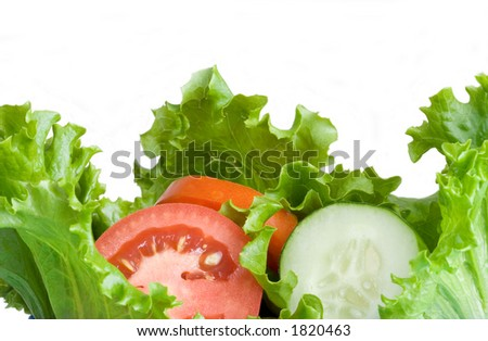 A healthy combination of lettuce, tomato and cucumber. - stock photo