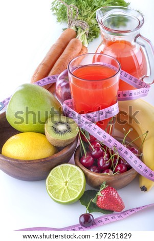 A healthy multivitamin juice of various fruits and vegetables - stock photo