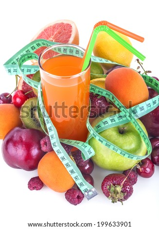 A healthy multivitamin juice of various fruits with meter - stock photo