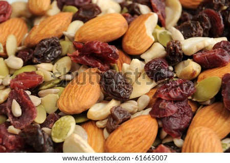 A healthy organic trail mix of almonds, raisins, cranberries, and other various nutrition.