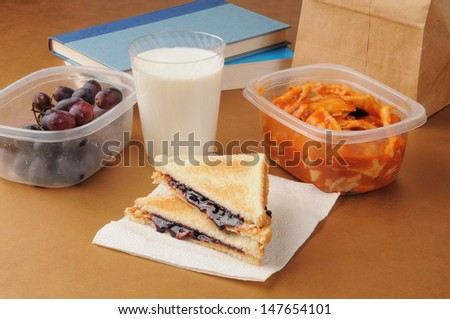 A healthy sack lunch with a peanut butter sandwich, grapes and ravioli - stock photo