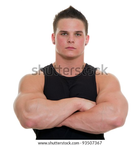 A healthy, young man on a white background. - stock photo