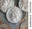 A heap of many ancient Roman coins - stock photo