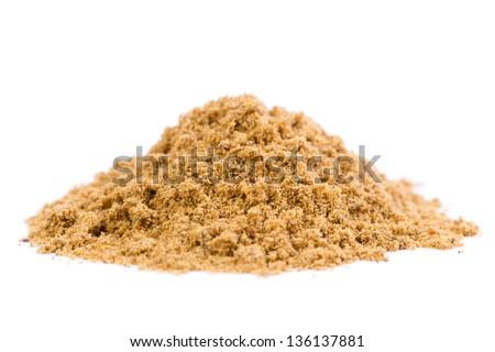 A heap of raw organic coriander spice powder on white background. - stock photo